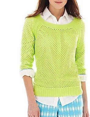 JCPenney jcpTM Open Stitch Sweater