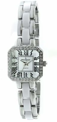 Peugeot 7072WT Crystal Accented Square Silver-Tone White Acrylic Link Watch