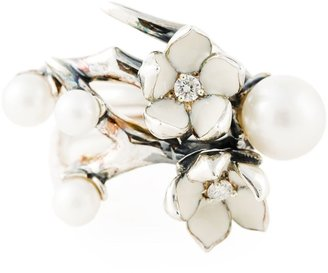 Shaun Leane sterling silver Cherry Blossom diamond and pearl flower ring