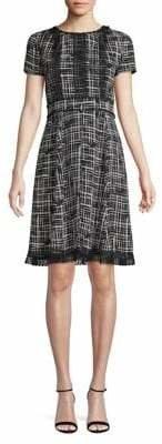 Karl Lagerfeld Paris Lace-Trimmed Fit Flare Dress