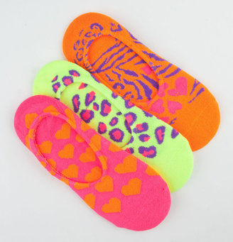 Full Tilt 3 Pack Animal/Heart Womens No Show Socks