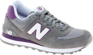 New Balance 574 Suede and Mesh Grey Stripe Trainers - Grey