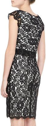 Monique Lhuillier Cap-Sleeve Lace Sheath Dress, Black