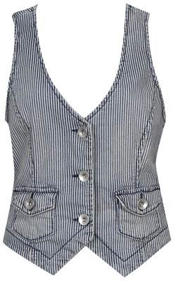 Forever 21 Stripe Denim Vest