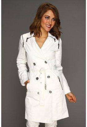 MICHAEL Michael Kors Sateen Zip Trenchcoat (White) - Apparel
