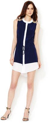 Leyendecker Silk Colorblock Mesh Dress