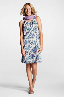 Lands' End Women's Petite Sleeveless Poplin Shift Dress