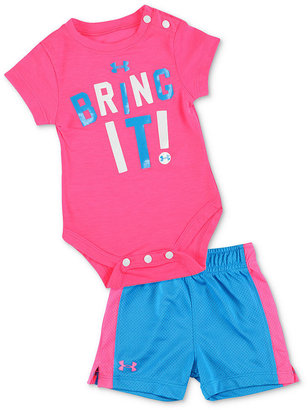 Under Armour Baby Set, Baby Girls Two-Piece Base Layer Bring It Bodysuit and Shorts