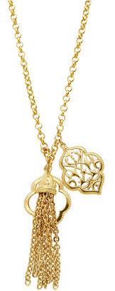 T Tahari Necklace, Gold Tone Tassel Charm Pendant