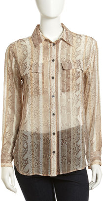 Equipment Signature Snake-Print Silk Blouse, Natural