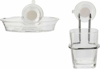 Croydex Press 'n' Lock 2 Piece Soap Dish & Tumbler