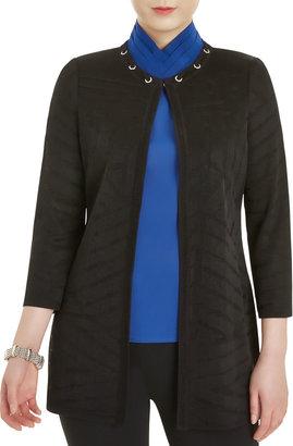 Misook Plus Size Grommet Detail Tonal Knit Jacket
