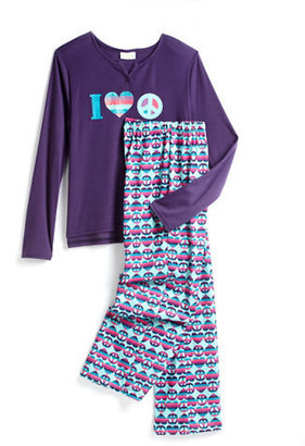 CAPELLI Two-Piece Hearts & Peace Signs Pajama Set