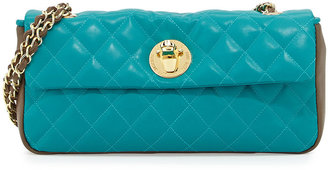 Moschino Borsa Quilted Faux-Leather Crossbody Bag, Taupe/Turquoise