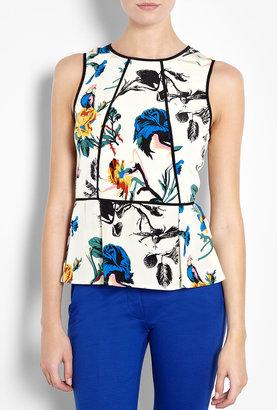 Tibi Bird & Floral Silk Print Peplum Top