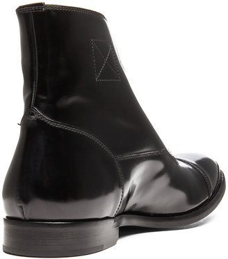 Alexander McQueen Stanford Glossy Leather Boot in Black
