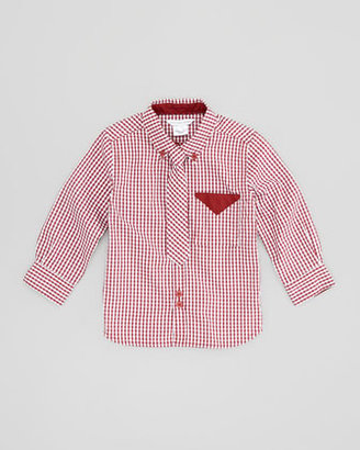 Little Marc Jacobs Gingham Shirt with Tie, Burgundy, Sizes 6-10
