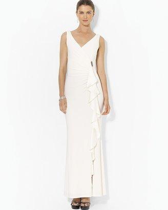 Lauren Ralph Lauren Sleeveless Gathered Satin Cascade Gown with Pin