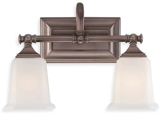 Quoizel Nicholas 2 Light Bath Fixture in Harbor Bronze With Opal Etched Glass