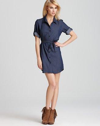 Aqua Shirt Dress - Chambray Tab Sleeve