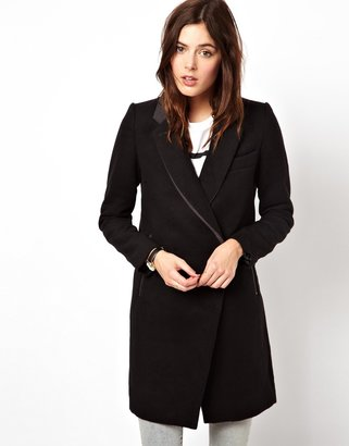 Asos Longline Zip Detail Coat - Black