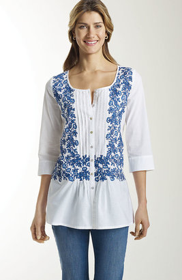 J. Jill Indigo vines embroidered top