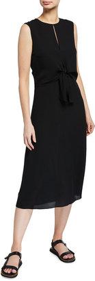 Theory Tie-Front Sleeveless Midi Dress