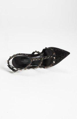 Valentino 'Rockstud Crystal Noir' T-Strap Pump