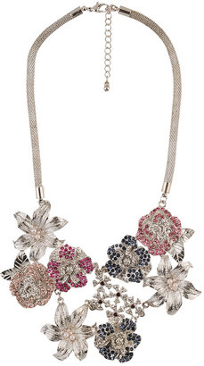 Forever 21 Jeweled Flower Drop Necklace
