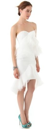 Marchesa Strapless Dress with Tulle Ruffles