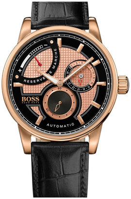 Boss Black Automatic Leather Strap Watch