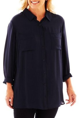 JCPenney a.n.a Relaxed-Fit Boyfriend Shirt - Plus