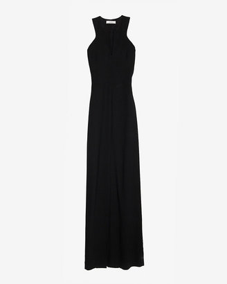 Robert Rodriguez Cut Out V Neck Gown: Black