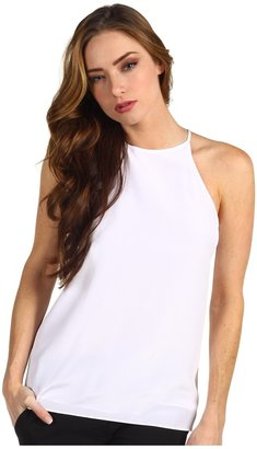 Tibi Solid Silk Halter Top (White) - Apparel