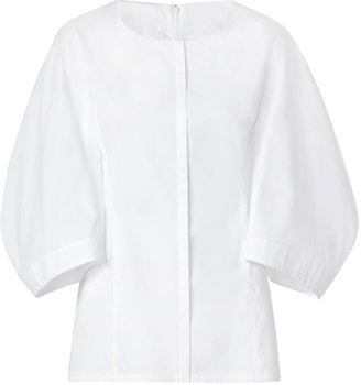 Jil Sander White Balloon Sleeve Cotton Top