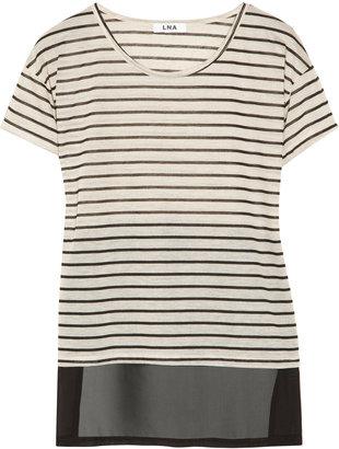 LnA Fleur chiffon-paneled striped jersey top