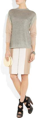 Richard Nicoll Two-tone wool-crepe pencil skirt