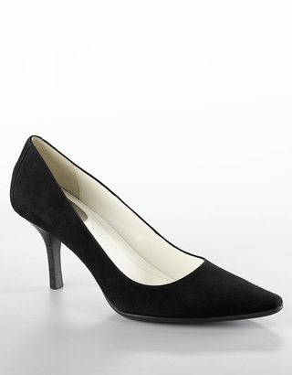 "Calvin Klein Dolly"" Pointy-Toe Suede Stiletto Pumps"