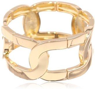 "Kenneth Cole New York ""Modern Monaco"" Gold Oval Link Stretch Bracelet, 7.5"""