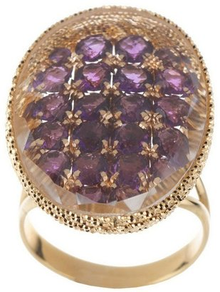 Arte D'oro Arte d'Oro Oval Gemstone Ring w/ Crystal Overlay, 18K Gold