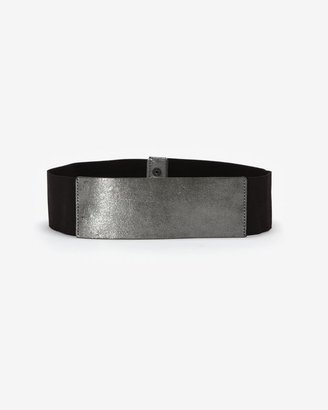 Alzare Exclusive Metallic Stretch Belt: Silver