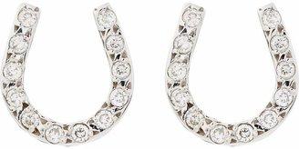 Ileana Makri Women's Pavé Diamond & White Gold Horseshoe Studs