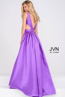 Jovani Mikado Pleated Skirt and Side Cut Out Prom Ballgown JVN50071