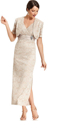 R & M Richards R&M Richards Petite Dress and Jacket, Sleeveless Empire-Waist Sequined Lace