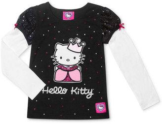 Hello Kitty Kids T-Shirt, Little Girls Let's Play Long-Sleeve Tee