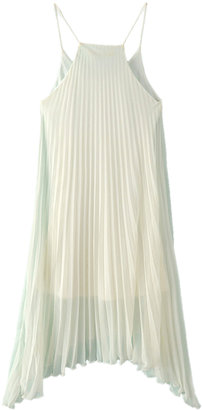 Choies Spaghetti Strap Pleated Dress with Asymetric Hem in White