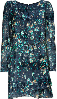 Vanessa Bruno Emerald/Navy Embellished Velvet Dress