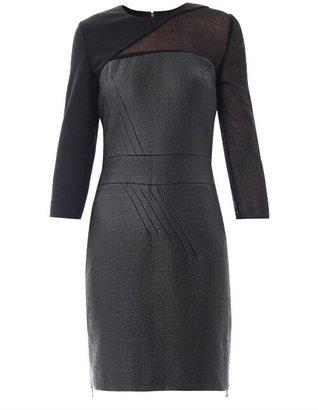 Antonio Berardi Sheer sleeve waxed-tweed fitted dress