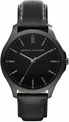 Armani Exchange Men's Black Leather Strap Watch 45mm AX2148