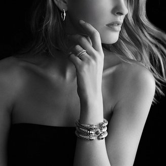 David Yurman Sculpted Cable Large Hoop Earrings with Diamonds